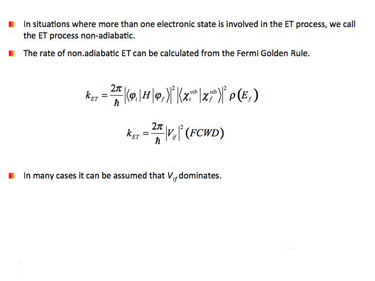 Slide 15 Fermi Golden Rule for non-adiabatic ET