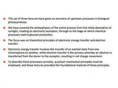 Slide 22 Summary of the three lectures on photobiological systems