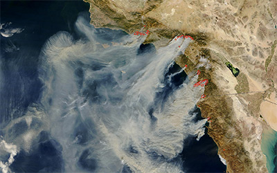 Wildfires in Southern California. Credit: Jacques Descloitres, MODIS Rapid Response Team at NASA GSFC