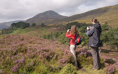 Scottish forest landscapes might alter under climate change from impacts on forest ecosystem services to tourism activities like outdoor recreation. Image credit Forestry Commission.