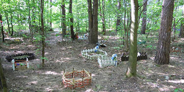 Pet animal cemetery in a Russian urban forest