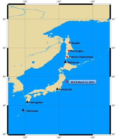 Map of the Tohoku quake