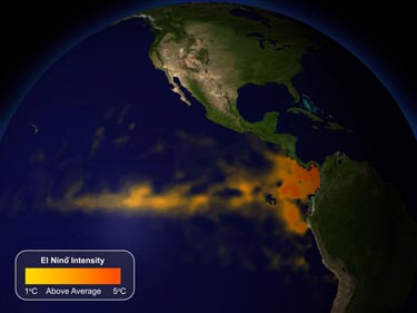 Sea-surface temperatures during an El Niño event in 2009