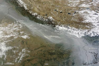 Dense haze over northern parts of India