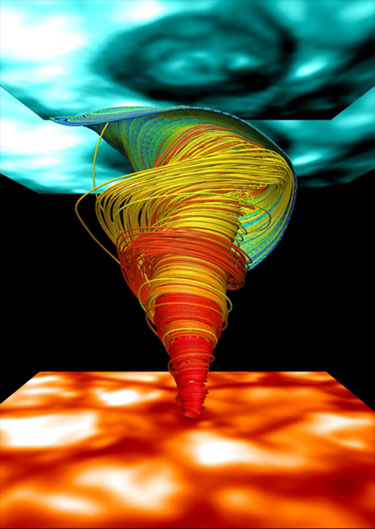 Visualization of a solar magnetic tornado