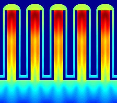 Computer simulation of light absorption in a nanowire array