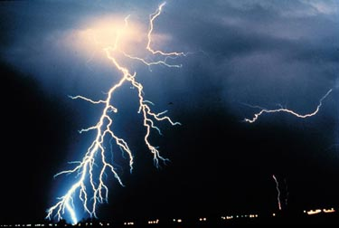 Image of multiple cloud-to-ground and cloud-to-cloud lightning strikes observed during a night-time thunderstorm