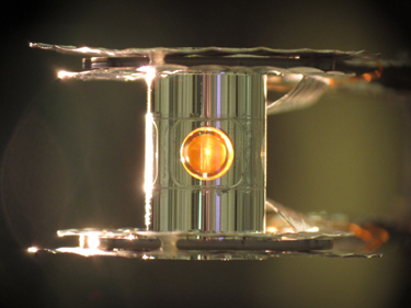 Photograph of the fusion fuel capsule at the National Ignition Facility
