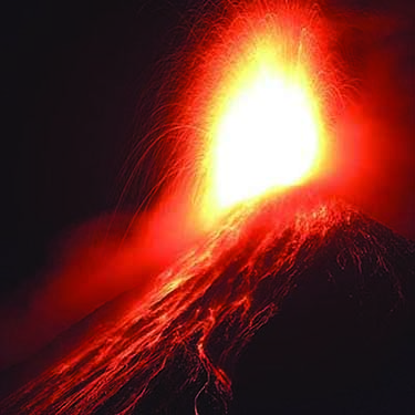 Photograph of the Volcán de Fuego in Guatemala while it erupts