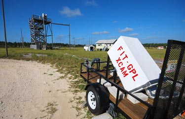 X-ray camera in front of the rocket launch tower