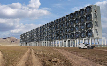 Large array of fans that draw air into a carbon-capture system