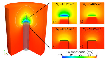 Piezoelectric profile inside and outside the nanowire