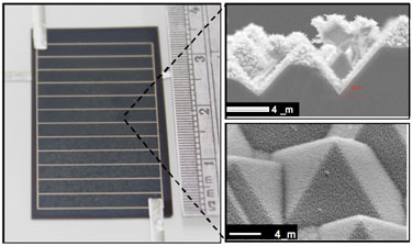 Anti-reflective design: solar cell with compound surface textures