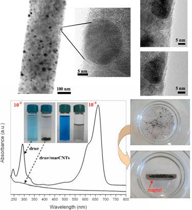 Magnetic carbon nanotubes: morphology, drug loading and movement under a magnet