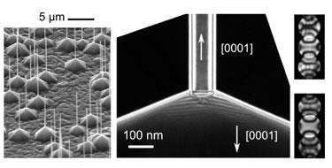 ZnO nanowires and pyramids