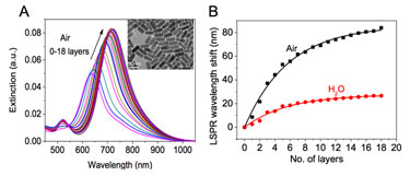 Plasmonic transducers: gold nanorods absorbed on glass substrates