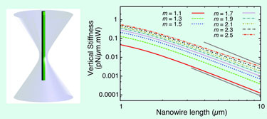 Vertically trapped nanowire in a Gaussian laser beam