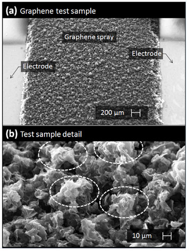 SEM images of sprayed graphene