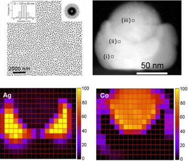 Bimetallic nanoparticle array in detail