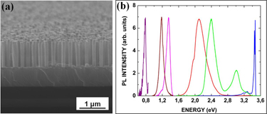 Photoluminescence spectra of selective area grown nanocolumns