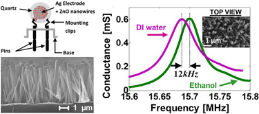 Well-spaced nanowires on electrode surface