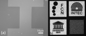 (a) SEM images of a micro-patterned OH- terminated PbS QD film. (b) Fluorescence microscope image of a CdSe/CdS micropatterned film.