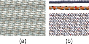 (a) Moiré pattern formed by graphene and boron nitride; (b) Side and top views of the system after oxygen incorporation into boron nitride