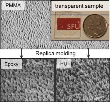 Scanning electron microscopy (SEM) images of the PMMA nano-pillar arrays, the epoxy replica pillar arrays and the polyurethane replica of pillar arrays