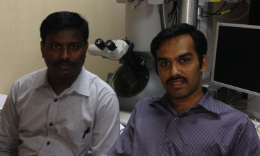 CSIR-CECRI scientists A Subbiah (left) and TN Narayanan (right) at their institute's Central Instrumentation Facility during a TEM session