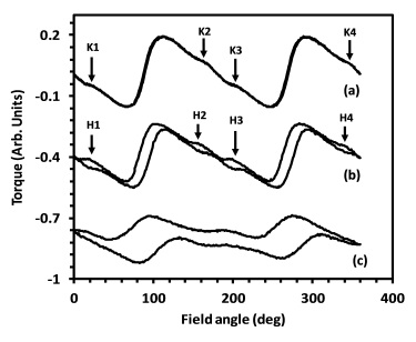 Fig. 1: Torque curves measured at three different magnitudes of applied magnetic field