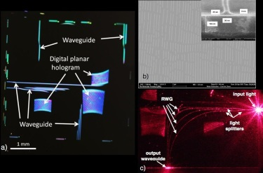 Printable photonic chip. a) optical picture of a photonic chip, b) SEM picture of a planar hologram.   c) Optical picture of an integrated chip excited with a red laser at the input.