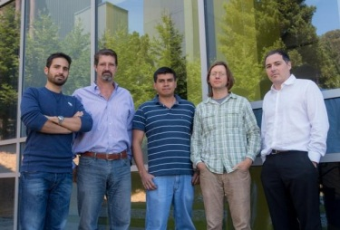 Nanofabrication team. From left to right: Giuseppe Calafiore, Stefano Cabrini, Carlos Pina-  Hernandez, Scott Dhuey, Christophe Peroz at The Molecular Foundry – LBNL. Picture by A.   Schwartzberg.
