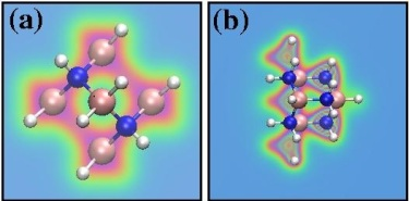 Total electronic charge density of two different boron nitride diamondoids