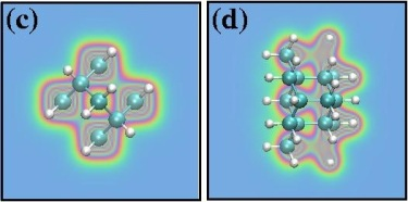 Total electronic charge density of two different carbon-based diamondoid counterparts