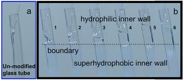 Invisible valve: hydrophilic–superhydrophobic boundary