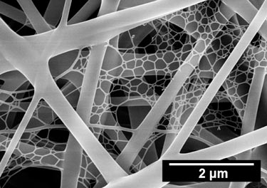 Nanoweb: tiny polymer strands fill the gaps between larger fibres