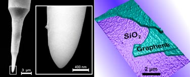 Left to right: tip details and AFM image of graphene layers