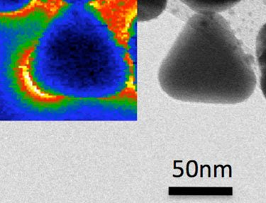 Triangular silver nanoparticle together with plasmon map