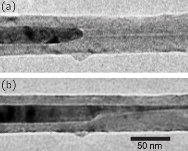 TEM image of the iron nanocrystal moving through the CNT