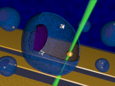 Artistic representation for nanoscale temperature control inside of a living cell using diamond nanocrystals.