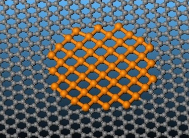 A tiny patch of 2D iron in graphene