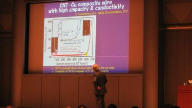 Sumio Iijima, who first reported observations of carbon nanotubes in 1990 addresses TNT Japan during the opening plenary.