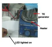 Thermoelectric-powered LED