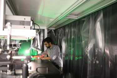Vikas Remesh in the ultrafast nanophotonics lab at ICFO