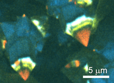 Colour-composite cathodoluminescence image of GaN crystallites