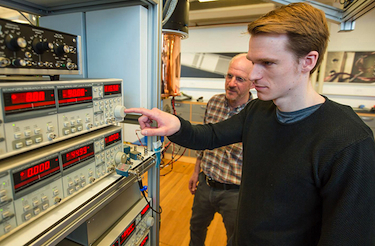 Photograph of Sven Albrecht (right) and Charles Marcus in the lab