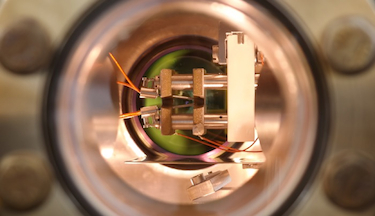 An image of the ion trap inside the vacuum chamber