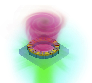 Artist's impression of the microring laser showing the semiconductor ring with a clockface-like pattern on its surface