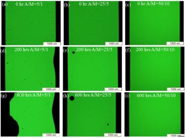 Photography of three comparative TE-OLEDs before and after aging in an oven.