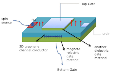 Top-gated magnetoelectric spinFET with a ferromagnetic source and drain